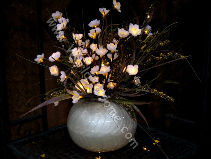 Small 19in 60 light white plum tree flower branch light - Tree branches with lights ...