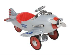 Silver Pursuit Plane Retro Antique Pedal Toys