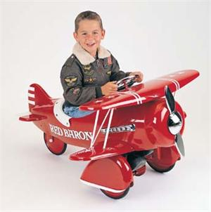 Red Baron Plane Retro Antique Pedal Toys