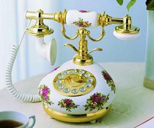 Red and White Porcelain Antique Phone Antique Porcelain Telephones