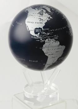 "4.5"" Silver and Dark Blue Metallic Mova Globe 4.5 Mova Globe"